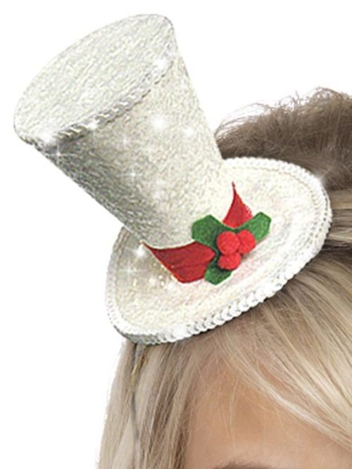 Mini Top Hat, White, with Glitter, on Headband