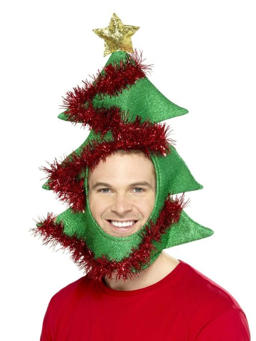 Novelty Christmas Tree Hat, Green, with Tinsel