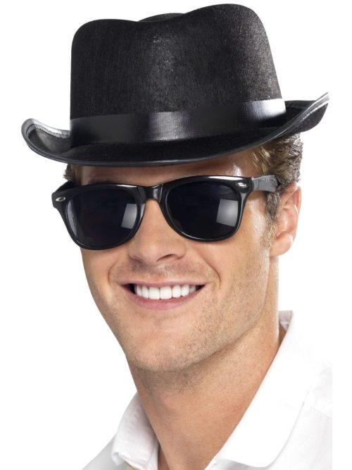 Black Blues Fedora Hat with Black Trim Band