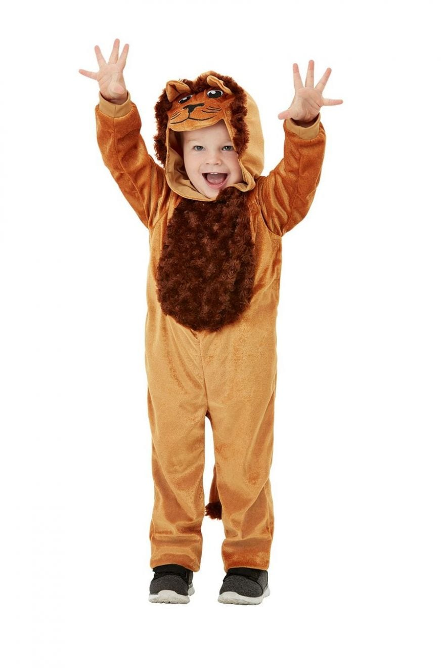 Toddler Lion Children's Fancy Dress Costume contains Brown Hooded Jumpsuit