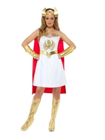 Masters of the Universe She-Ra Glitter Print Ladies Superhero Fancy Dress Costume