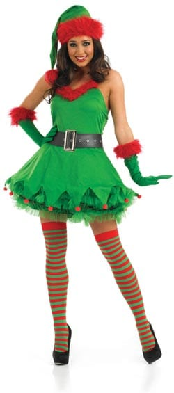 Sexy Xmas Helper Ladies Christmas Fancy Dress Costume contains Dress, Belt , Gloves & Hat