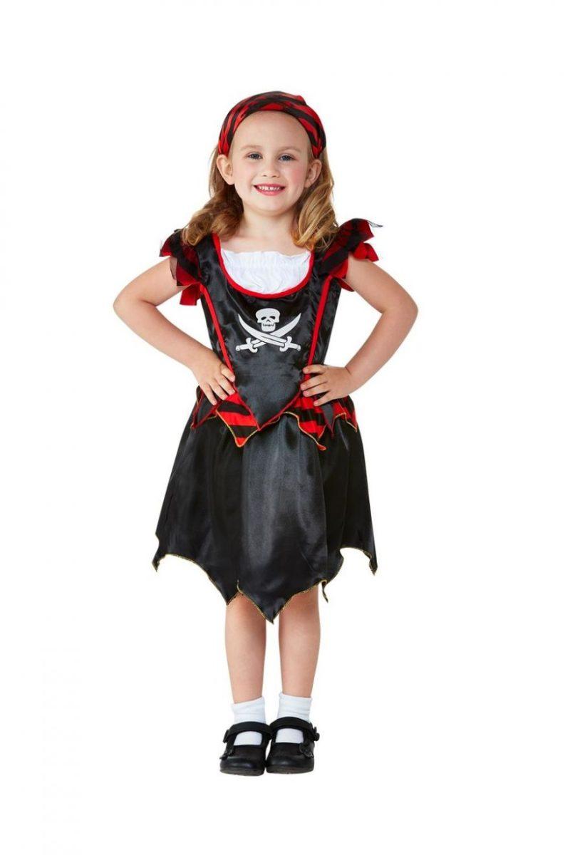 Pirate Girl Skull & Crossbones Toddler Children's Fancy Dress Costume
