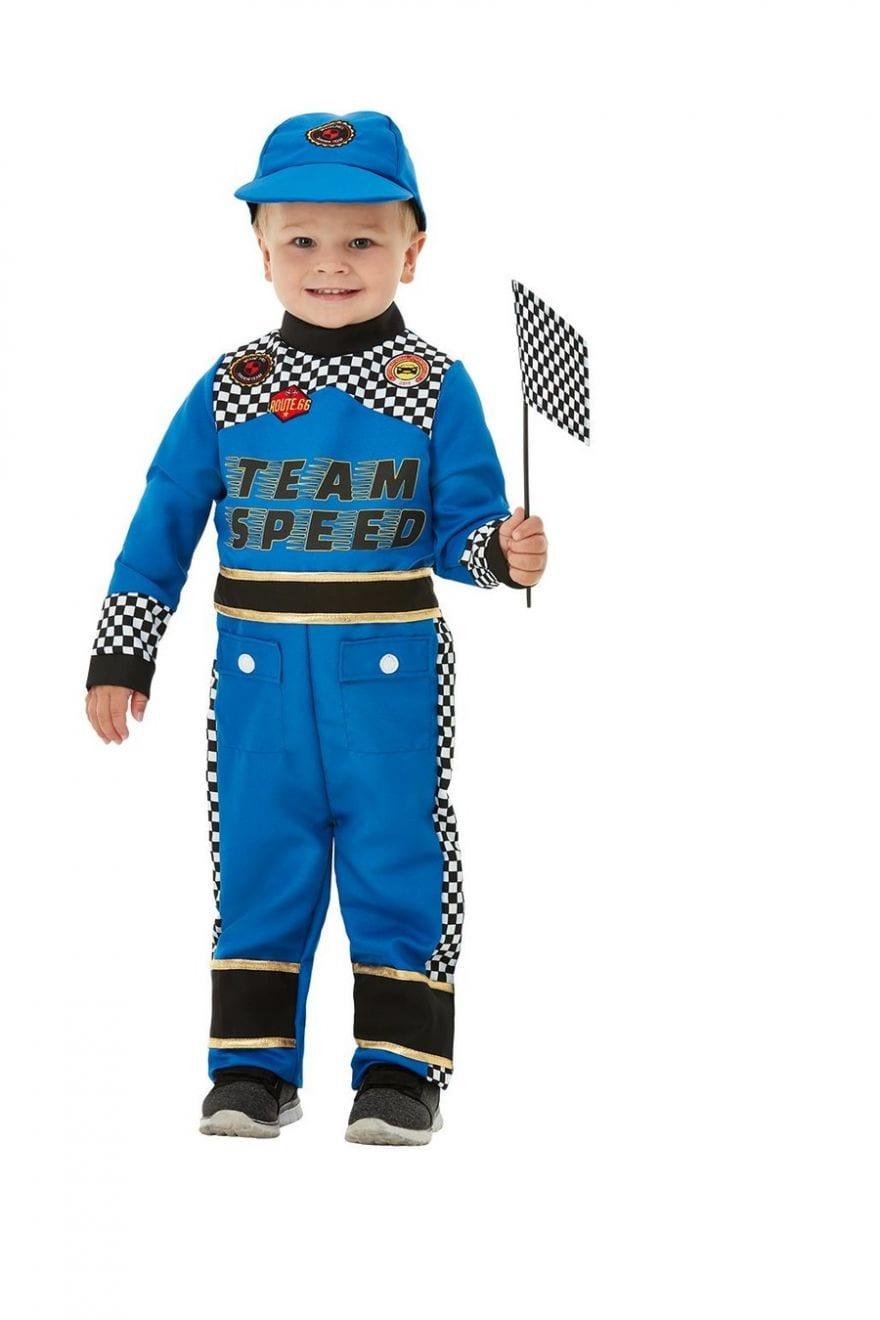 Racing Car Driver Toddler Children's Fancy Dress Costume contains Blue Jumpsuit, Cap & Flag