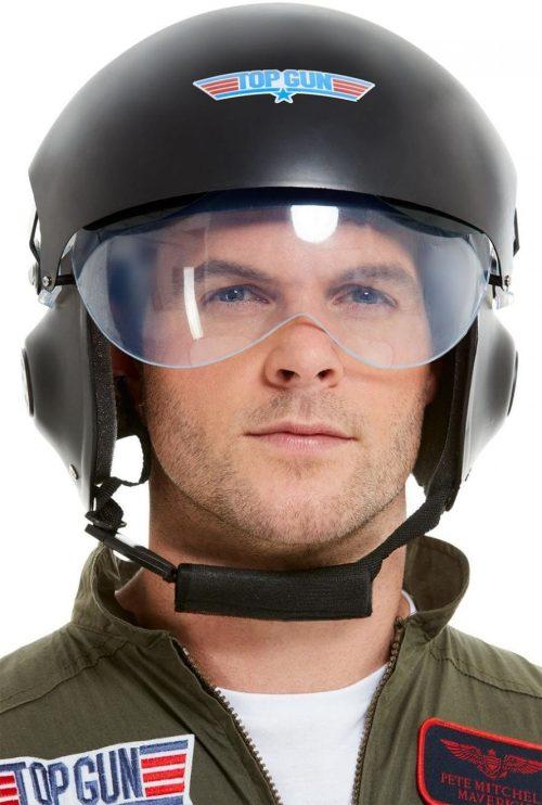 Top Gun Deluxe Helmet, Black, with Adjustable Visor & Chin Strap