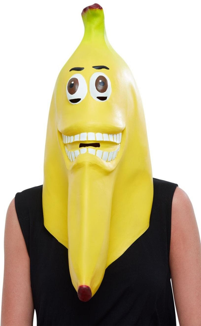 Banana Latex Mask, Yellow, Full Overhead