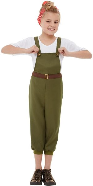 WW2 Little Land Girl Children's Fancy Dress Costume