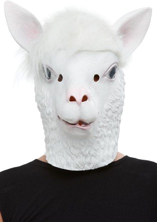 Llama Latex Mask, White, Full Overhead
