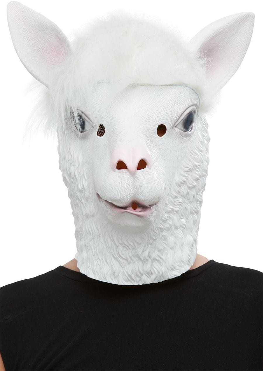Llama Latex Mask, White, Full Overhead