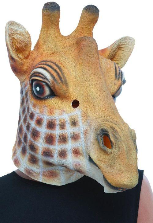Giraffe Latex Mask, Brown, Full Overhead