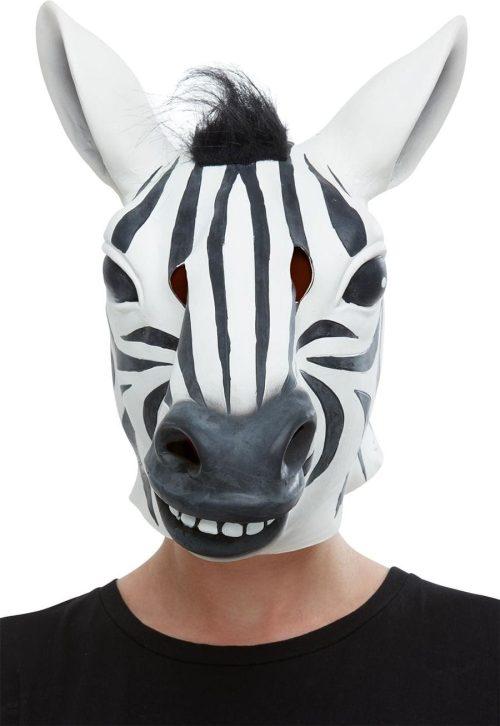 Zebra Latex Mask, Black & White, Full Overhead