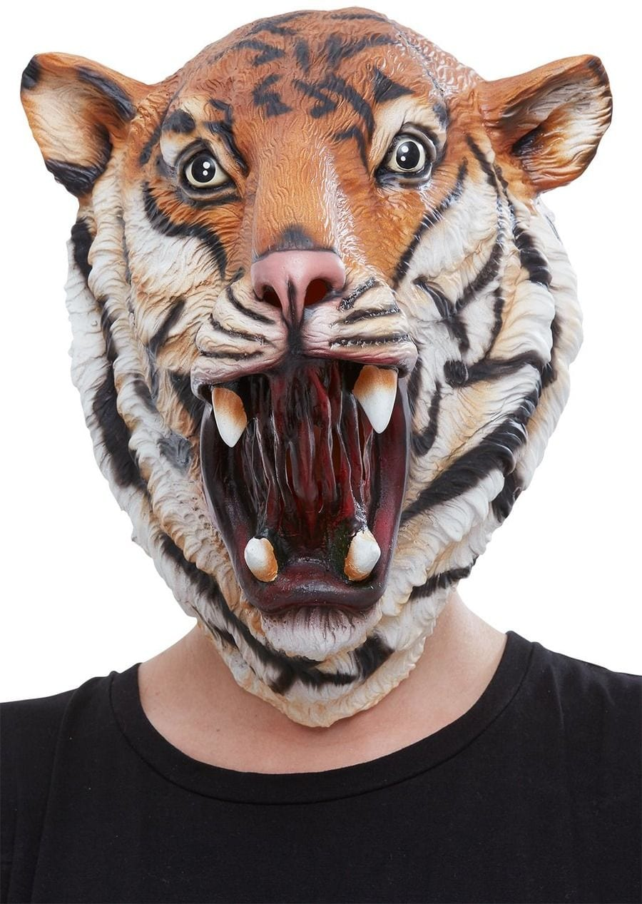 Tiger Latex Mask, Orange & Black, Full Overhead