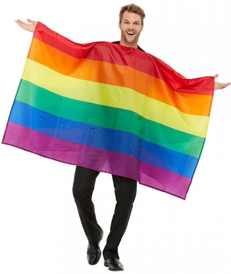 Rainbow Flag Unisex Fancy Dress Costume contains Multi-Coloured Rainbow Flag