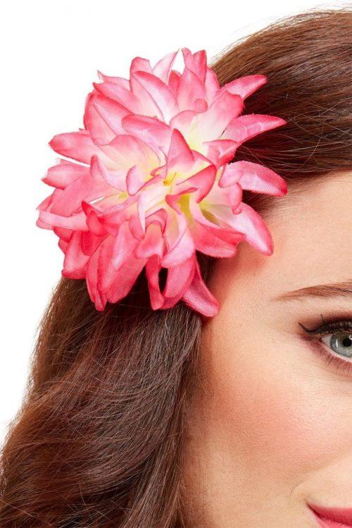 Tropical Hawaiian Flower Hair Clip Pink