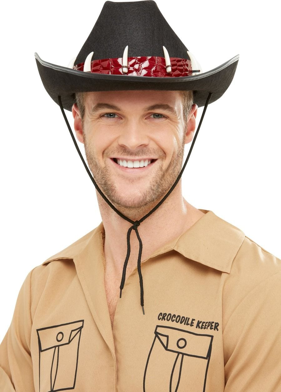 Outback Adventurer Hat, Black, with Crocodile Teeth