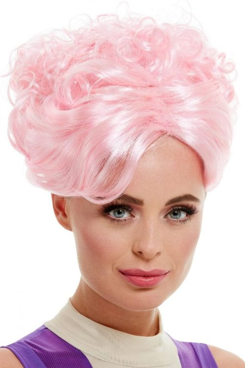 Trapeze Artist Wig, Pink, with Curls