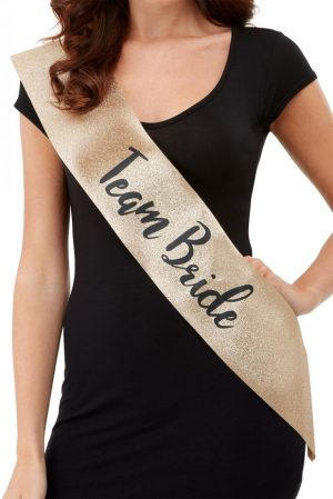 Deluxe Glitter Team Bride Sash, Gold & Black