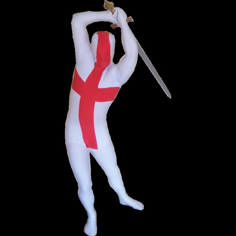 England Flag Morphsuit Men's Fancy Dress Costume