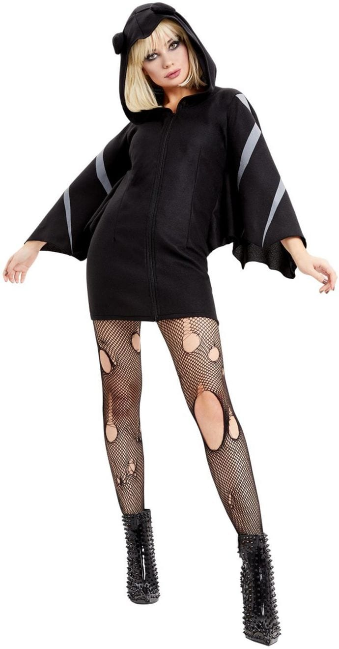 Bat Zip Up Jumper Dress Ladies Halloween Fancy Dress Costume