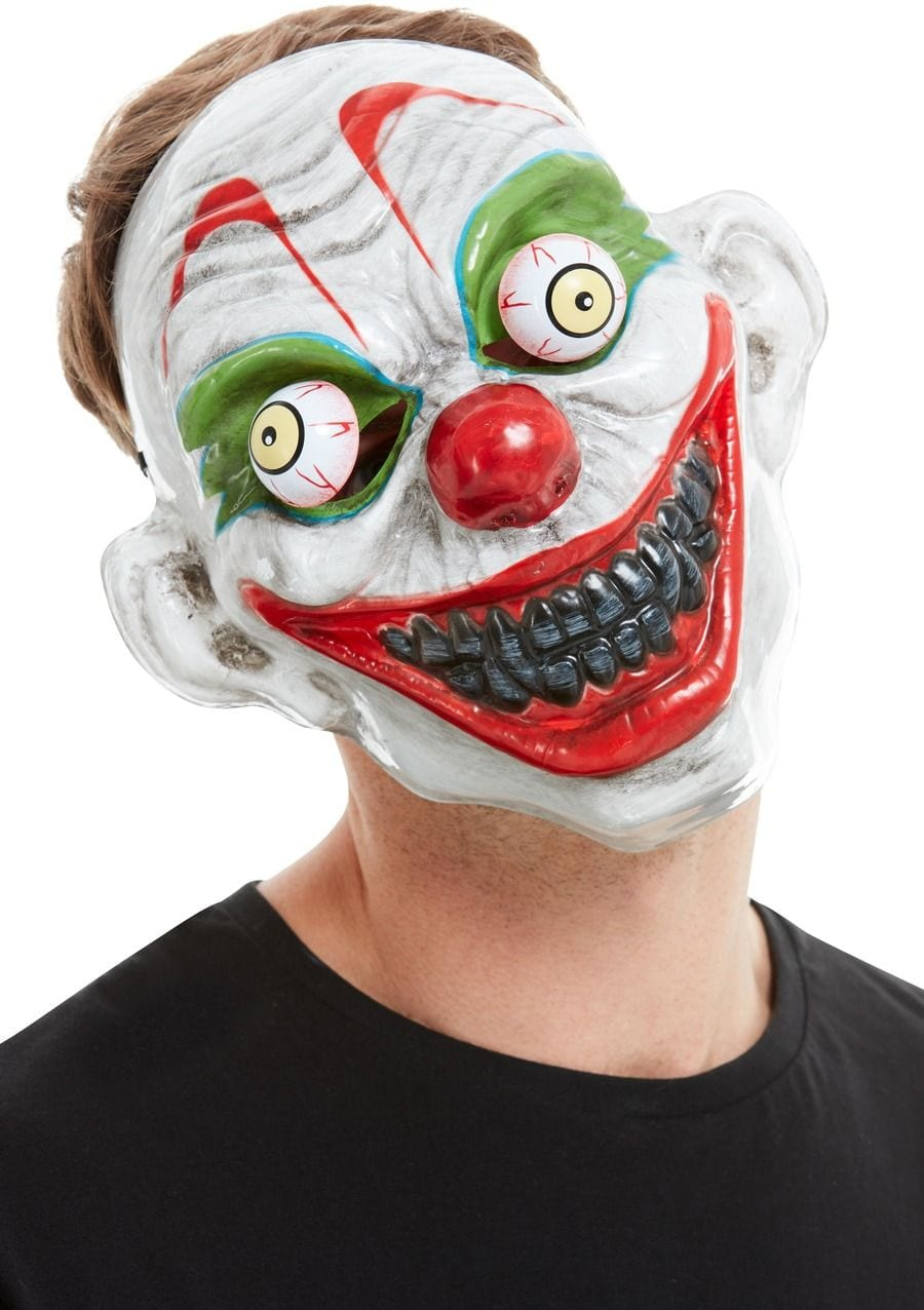 Clown Mask, White, PVC, with Moving Eyes