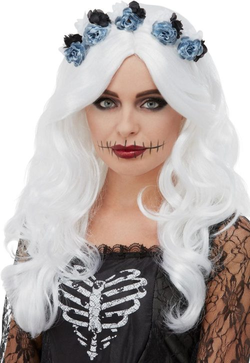 Day of the Dead Wig, White, with Flowers