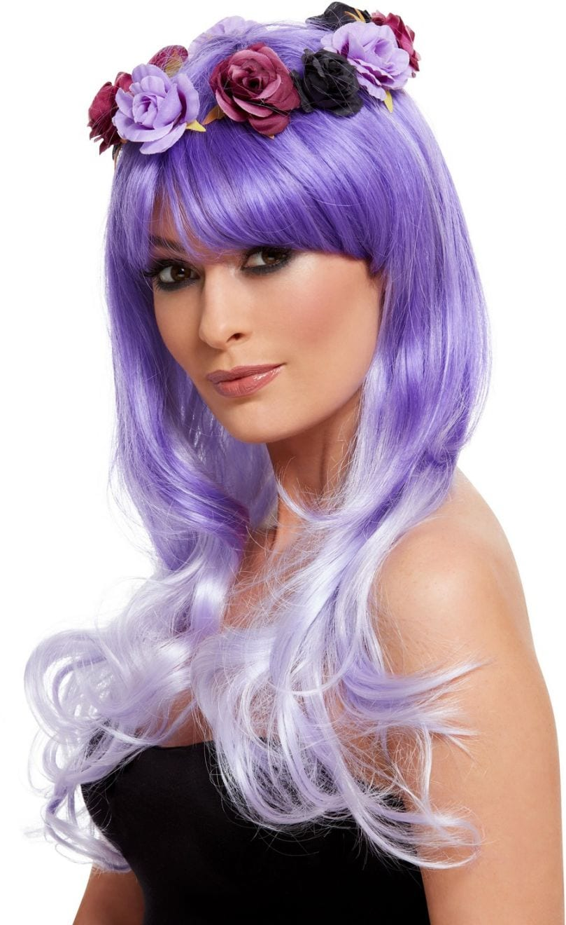 Day of the Dead Glam Wig, Purple, with Flowers