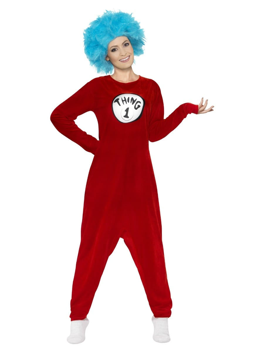 Thing 1 or Thing 2 Unisex Fancy Dress Costume contains Red Jumpsuit, Wig & 2 Badges