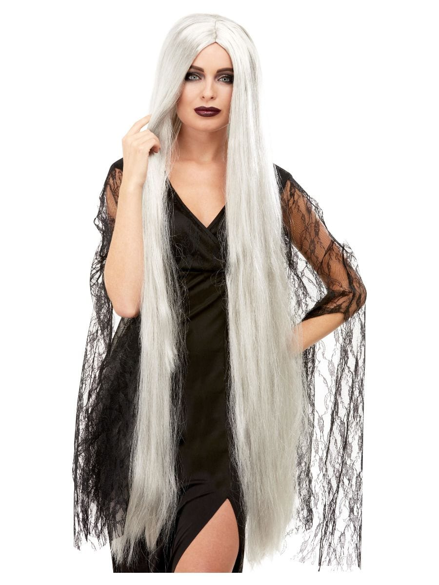 Witch Wig Extra Long, Grey, 120cm Long