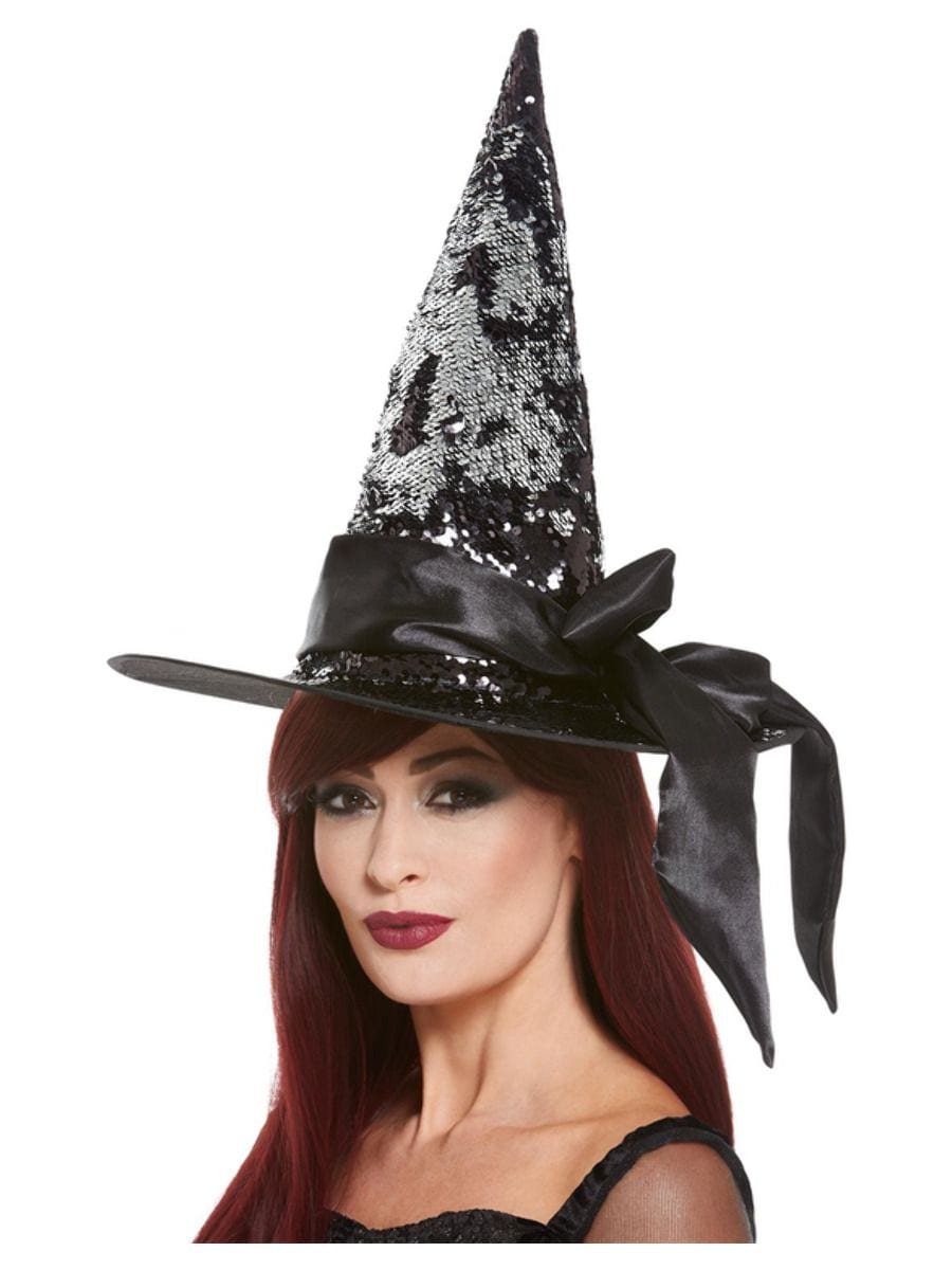 Deluxe Reversible Sequin Witch Hat, Black & Silver, with Satin Bow