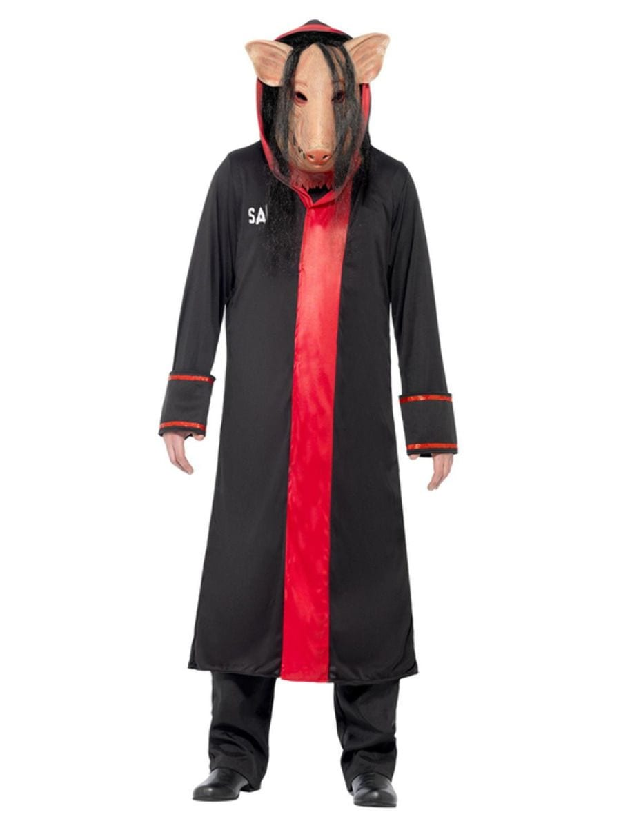 Saw Pig Men's Halloween Fancy Dress Costume contains Black Hooded Robe & Pig Mask
