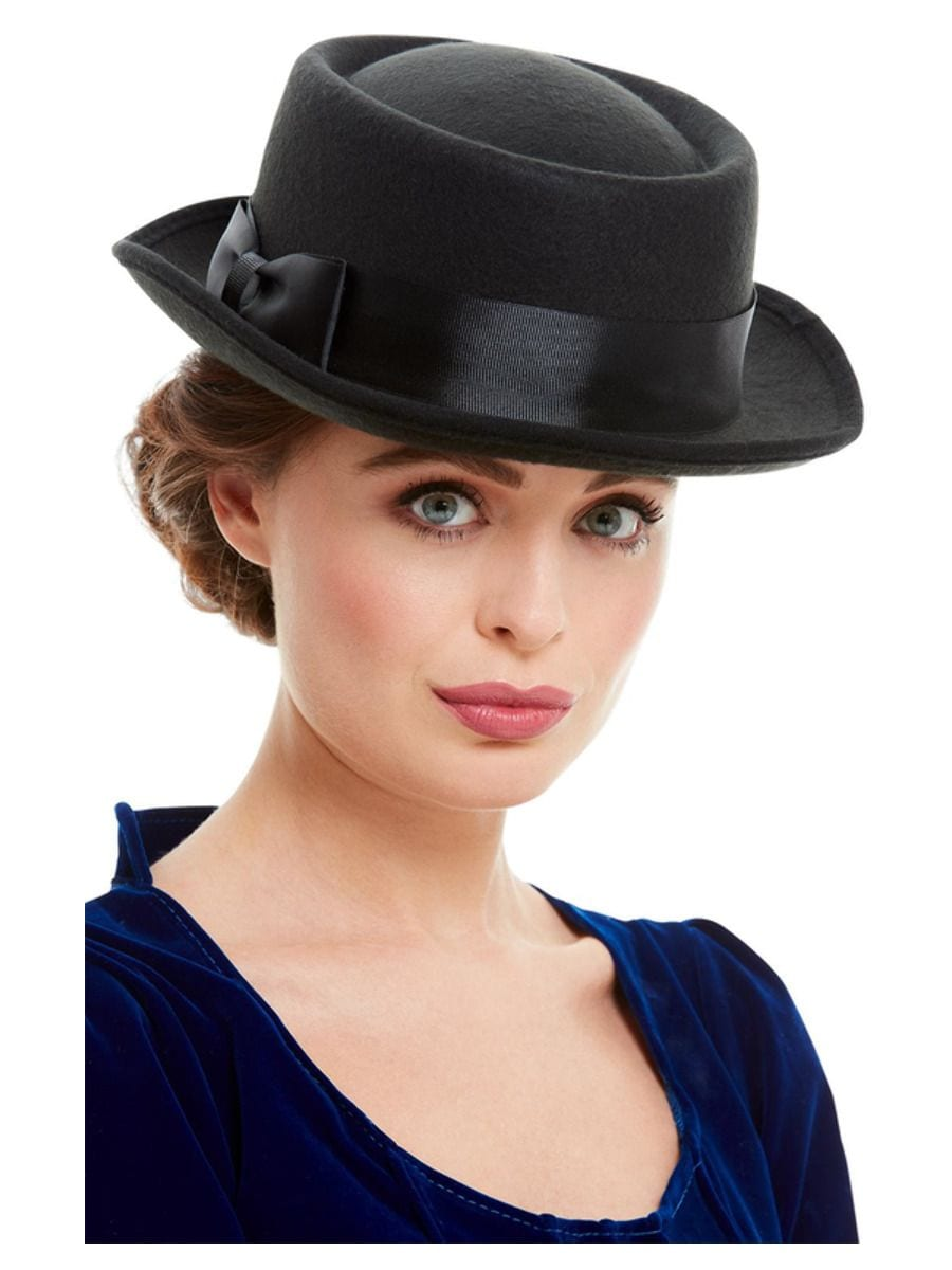 Victorian Hat, Black, with Bow