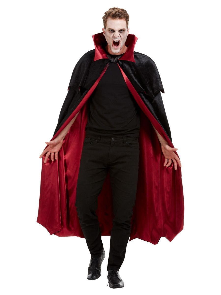 Deluxe Vampire Cape, Black, Velour with Red Lining