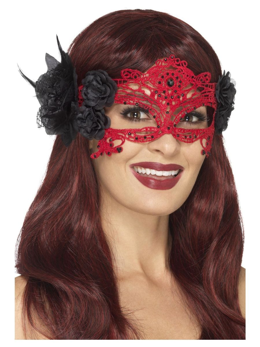 Embroidered Lace Filigree Devil Eyemask-0