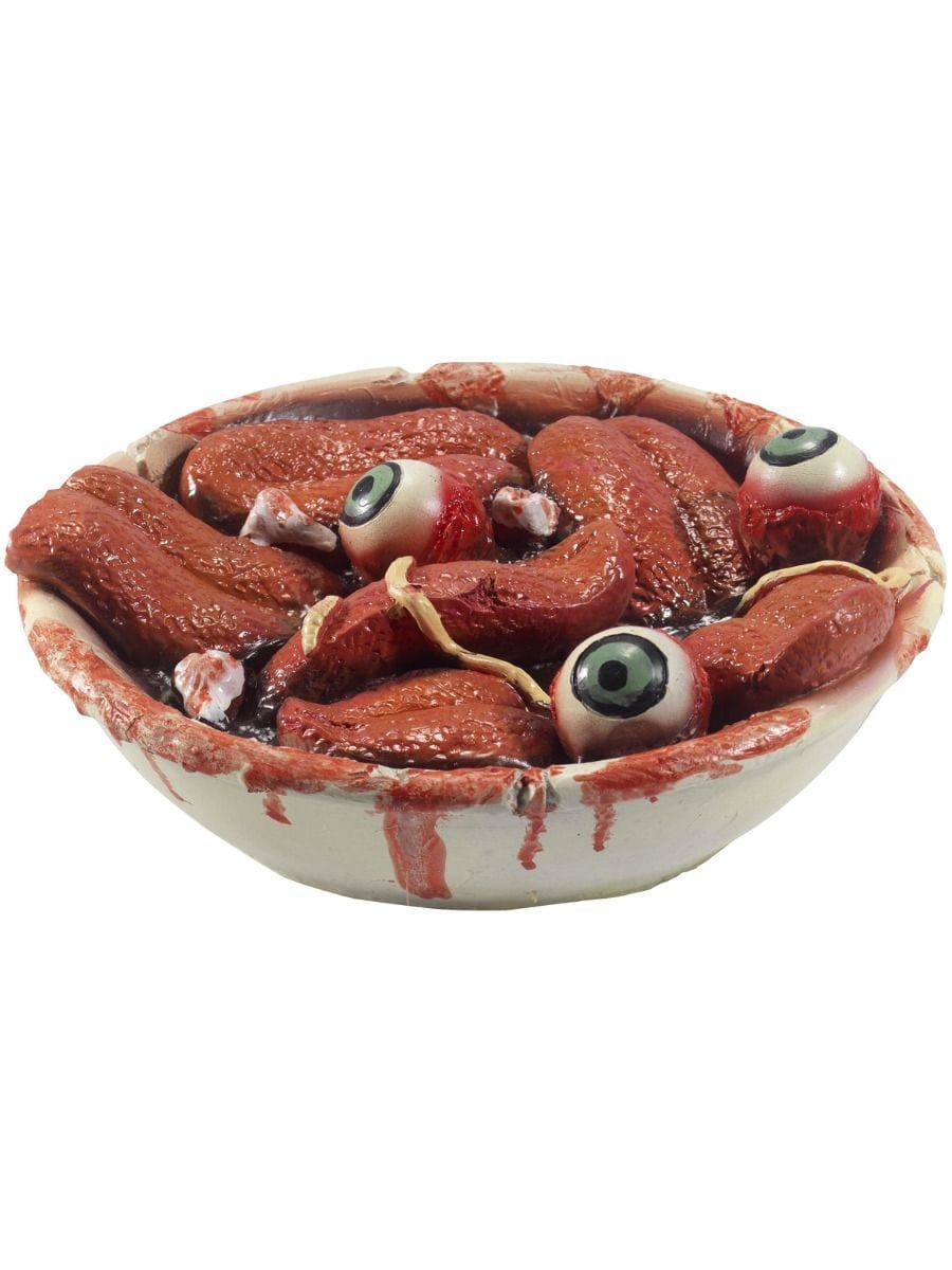 Latex Gory Gourmet Tongue Bowl Prop, Red, with Teeth & Eyes,19cm / 7in
