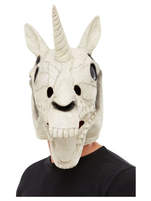 Unicorn Skull Latex Mask, White-0