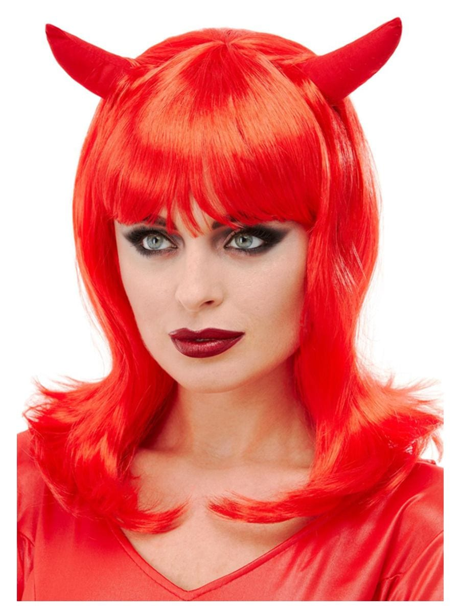 Devil Wig, Red, with Horns-0